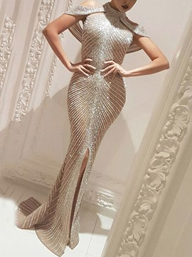 Ericdress Floor-Length Stand Collar Asymmetric Pullover Mermaid Dress