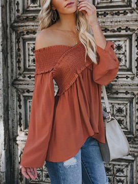 Ericdress Off Shoulder Plain Flare Sleeve Long Sleeve Standard Women's Blouse
