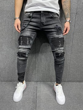 Ericdress Hole Pencil Pants Mid Waist Zipper Men's Jeans