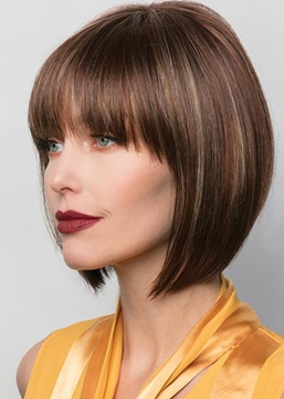 Ericdress Short Bob Hairstyle Women's Straight Human Hair Capless Wigs With Bangs 8Inch