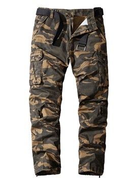 Ericdress Straight Pocket Camouflage Button European Men's Casual Pants