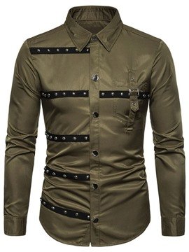 Ericdress Color Block European Lapel Single-Breasted Men's Shirt