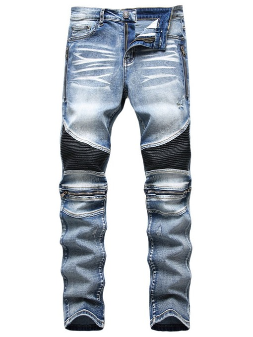 Ericdress Zipper Color Block Straight Zipper European Men's Jeans