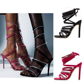 Ericdress Lace-Up Stiletto Heel Square Toe Rhinestone Sandals