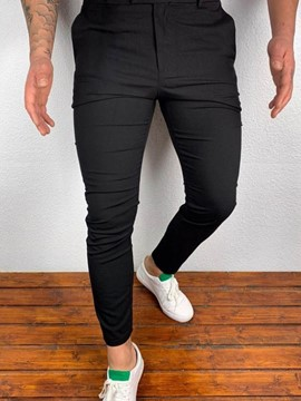 Ericdress Plain Pencil Pants European Button Casual Men's Pants