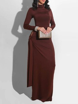 Ericdress Lace-Up Turtleneck Floor-Length Western Fall Women's Dress
