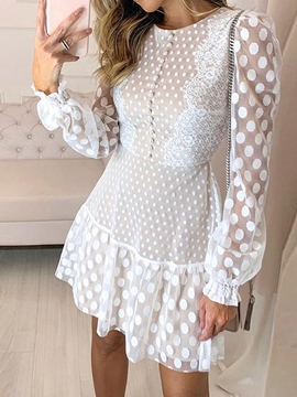 Ericdress Long Sleeve Round Neck Above Knee Polka Dots Fall Women's Dress