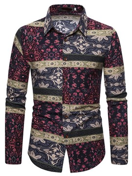Ericdress Floral Print Lapel Single-Breasted Men's Slim Shirt