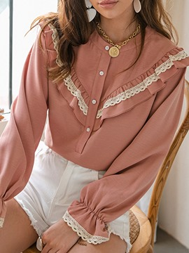 Ericdress Patchwork Flare Sleeve Plain Standard Women's Long Sleeve Blouse