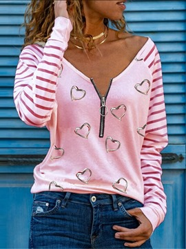 Ericdress Heart Shaped Long Sleeve Standard Loose Simple Women's T-Shirt