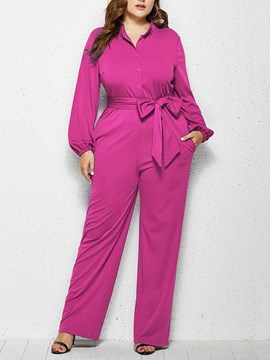 Ericdress Plain Plus Size Full Length Straight Mid Waist Jumpsuit