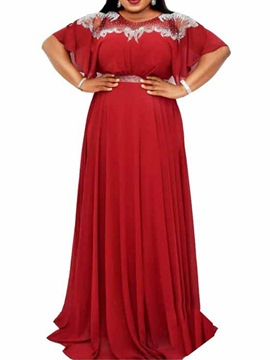 Ericdress Patchwork Half Sleeve Floor-Length Western Expansion Women's Dress