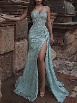 Ericdress Sequins Floor-Length Sleeveless Plain Mermaid Women's Dress
