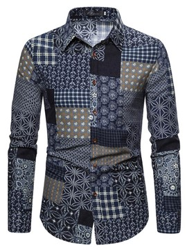 Ericdress Print Lapel European Spring Men's Slim Shirt