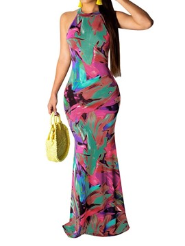 Ericdress Sleeveless Print Floor-Length Fall Women's Bodycon Dress