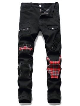 Ericdress Patchwork Pencil Pants Plaid Zipper Mid Waist Men's Jeans