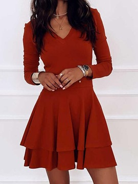 Ericdress Above Knee Long Sleeve V-Neck Layered Women's Dress