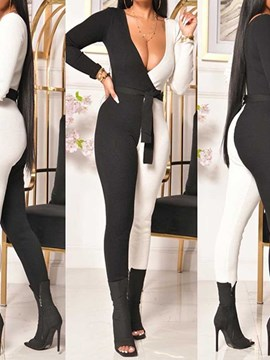 Ericdress Full Length Fashion Color Block Skinny Pencil Pants Women's Jumpsuit