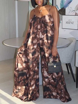 Ericdress Travel Look Print Full Length Wide Legs Loose Women's Jumpsuit