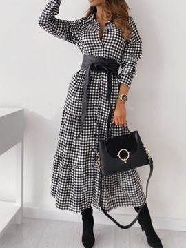 Ericdress Long Sleeve Patchwork Ankle-Length Spring Plaid Women's Dress