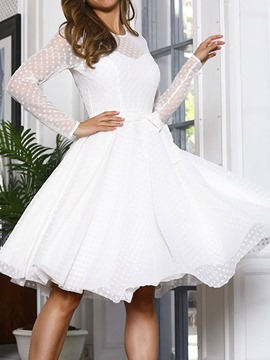 Ericdress Long Sleeve Mesh Round Neck Polka Dots Fashion Women's Dress
