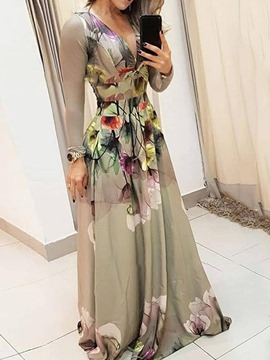 Ericdress Floor-Length Print Long Sleeve Regular Fashion Women's Dress