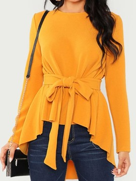 Ericdress Lace-Up Round Neck Regular Mid-Length Long Sleeve Women's Blouse