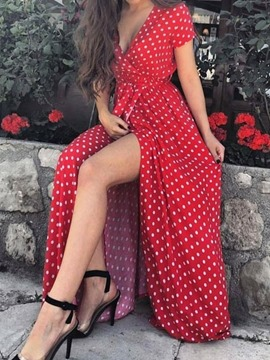 Ericdress Split Floor-Length V-Neck Fashion Polka Women's Dots Dress