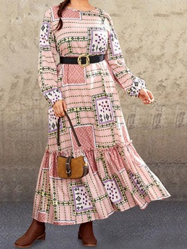 Ericdress Patchwork Floor-Length Long Sleeve Expansion Pullover Women's Dress