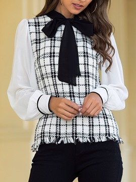 Ericdress Bowknot Plaid Standard Long Sleeve Women's Blouse