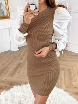 Ericdress Patchwork Long Sleeve Above Knee Women's Sexy Dress