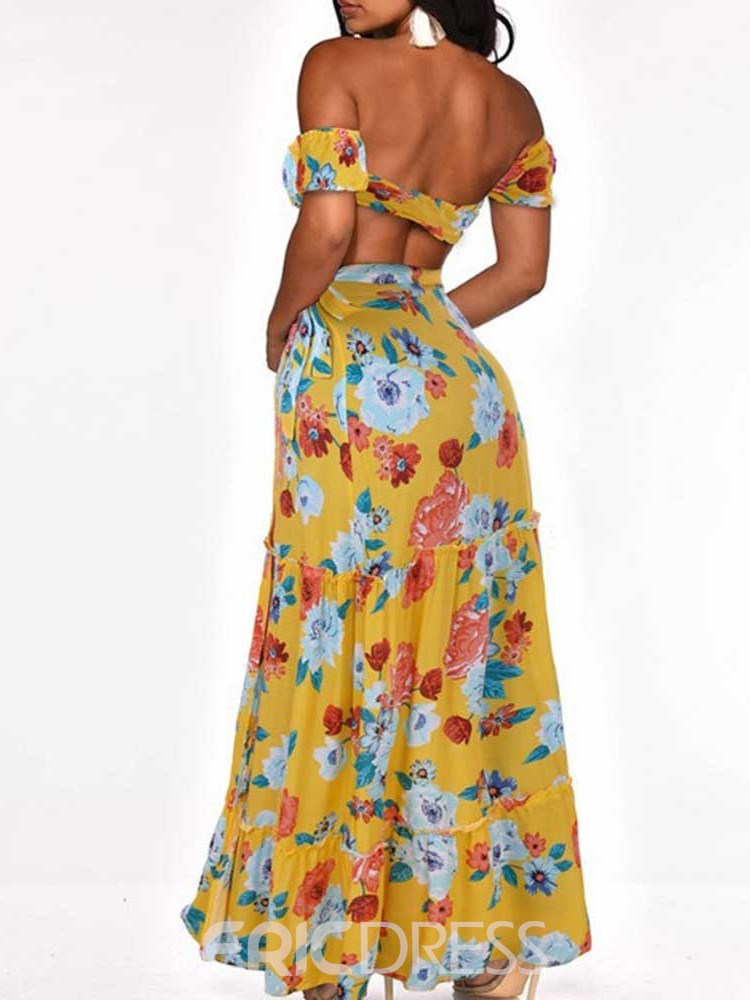 Ericdress Floral Sexy Print A-Line Lace-Up Women's Two Piece Sets