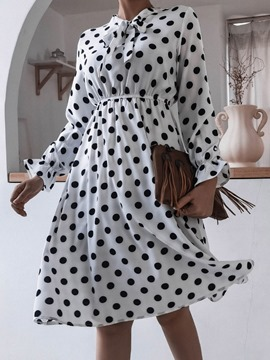 Ericdress Mid-Calf Patchwork Bow Collar A-Line Polka Dots Women's Dress