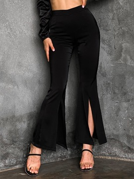 Ericdress Slim Plain Split Bellbottoms High Waist Casual Women's Pants