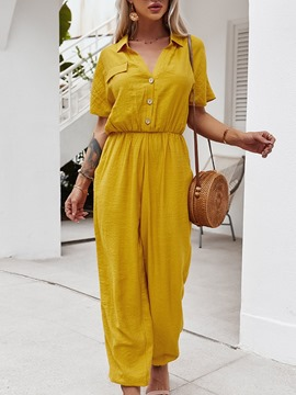 Ericdress Pleated Full Length Plain Loose Pencil Pants Women's Jumpsuit
