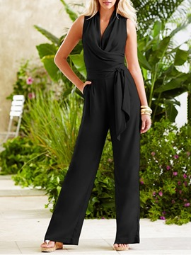 Ericdress Full Length Lace-Up Plain Mid Waist Loose Women's Jumpsuit