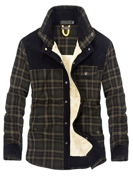 Ericdress Lapel Color Block Fleece Straight Winter Men's Jacket