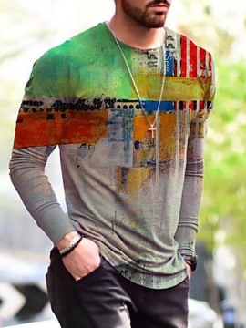 Ericdress Round Neck Casual Print Slim Men's Long Sleeve T-shirt