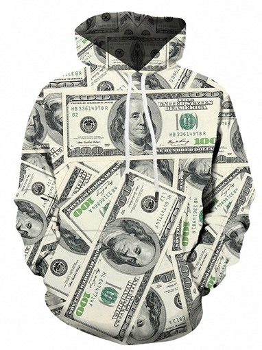 Ericdress Men's Print Loose Pullover Hoodies