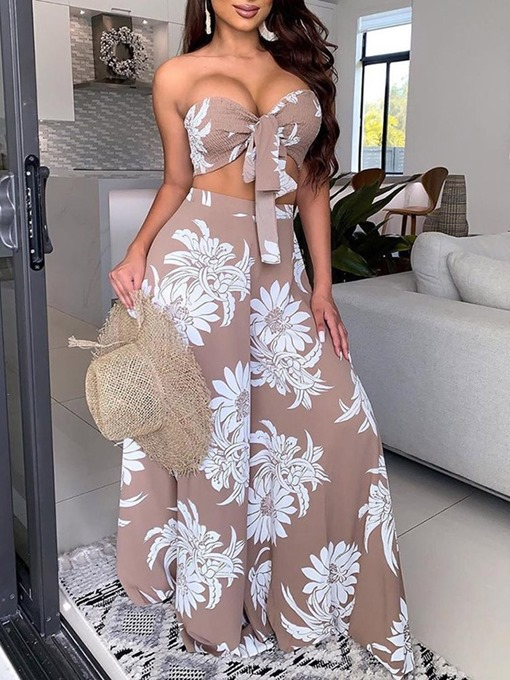 Ericdress Floral Travel Look Vest Wide Legs Lace-Up Women's Two Piece Sets