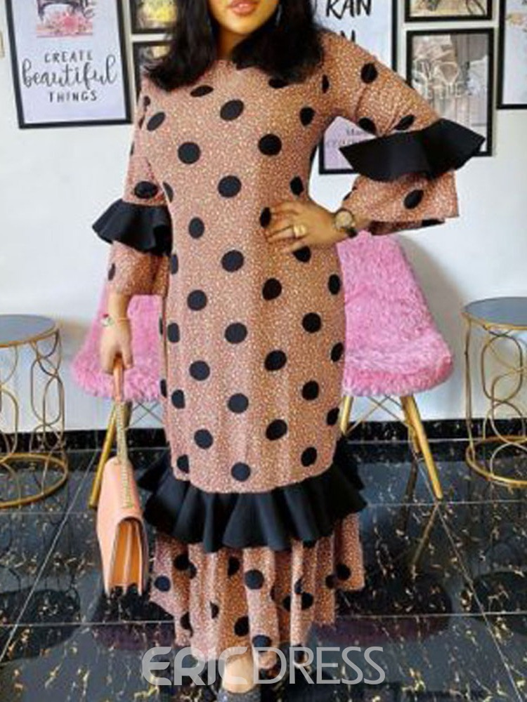 Ericdress Nine Points Sleeve Patchwork Ankle-Length Fashion Polka Dots Dress