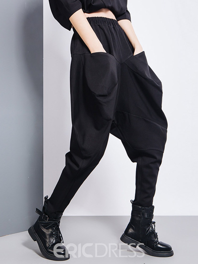 Ericdress Loose Plain Pleated Baggy Pants High Waist Casual Women's Pants