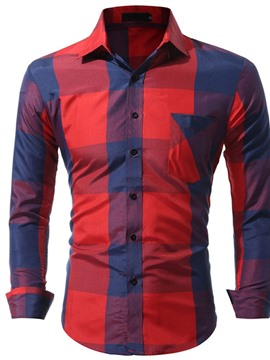 Ericdress Pocket Casual Plaid Single-Breasted Fall Men's Shirt