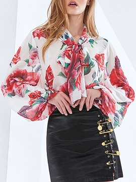 Ericdress Floral Regular Bowknot Long Sleeve Standard Women's Blouse