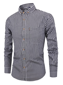 Ericdress Casual Plaid Lapel Spring Men's Slim Shirt