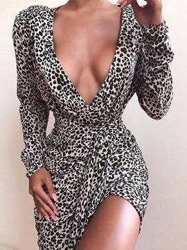 Ericdress Long Sleeve V-Neck Above Knee Leopard Pullover Women's Dress