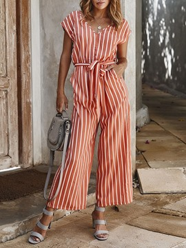 Ericdress Western Stripe Belt Women's Loose Jumpsuit