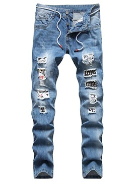 Ericdress Straight Hole Hip Hop Button Men's Jeans