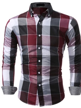 Ericdress Casual Lapel Plaid Single-Breasted Men's Shirt