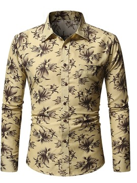 Ericdress Casual Floral Pocket Single-Breasted Fall Men's Shirt